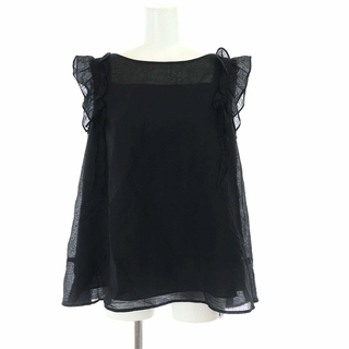 ルネ(René)のルネ ノースリーブブラウス カットソー プルオーバー フリル リボン 38 黒(シャツ/ブラウス(半袖/袖なし))