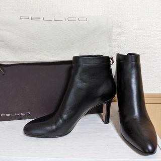 PELLICO - ペリーコ PELLICO バックジップショートブーツ 黒 太ヒール