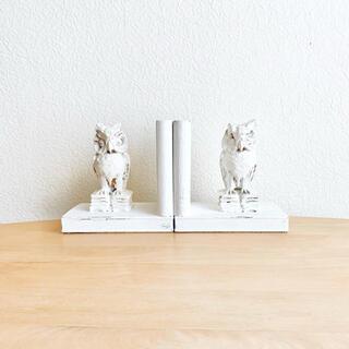 H.P.FRANCE - 東欧アンティーク フクロウのブックエンド ビンテージ 木製 オブジェ ミミズク