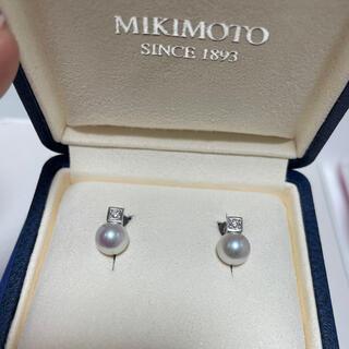 ミキモト(MIKIMOTO)のミキモト WGK18  パール×ダイヤ デザインピアス 美品(ピアス)