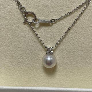 タサキ(TASAKI)の現行 タサキ K18  ダイヤ×パール ペンダント ネックレス 美品(ネックレス)