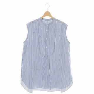 IENA - イエナ ストライプノースリーブシャツ バンドカラー ハーフボタン 白 紺