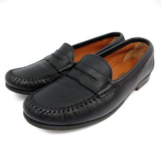 サルヴァトーレフェラガモ(Salvatore Ferragamo)のサルヴァトーレフェラガモ コインローファー レザー ヒール 5.5 23cm 黒(ローファー/革靴)