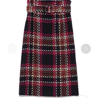 ミラオーウェン(Mila Owen)の数回着用 ミラオーウェン ツイードチェックベルト付タイトスカート(ひざ丈スカート)