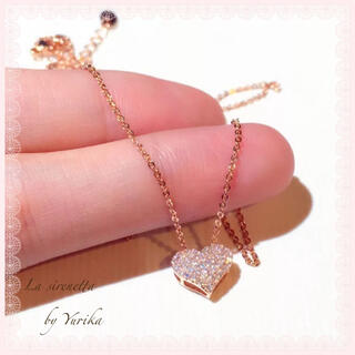 4℃ - Heart micro pave necklace