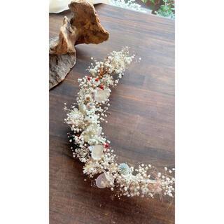 〜白い三日月〜かすみ草とルナリアのムーンリース○ドライフラワーリース(リース)