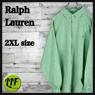 Ralph Lauren - 【希少‼︎】ラルフローレン 刺繍 紫刺繍 長袖 BDシャツ チェック 緑白