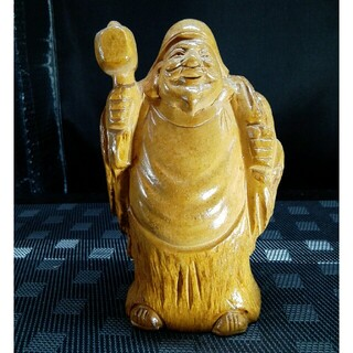 ☆a487、木製一刀彫 細密彫刻 七福神 置物飾り 縁起物 装飾工芸品 大黒天様(彫刻/オブジェ)