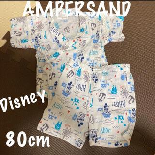 アンパサンド(ampersand)のAMPERSAND Disney ミッキー 総柄 甚平 男の子 80 綿100%(甚平/浴衣)
