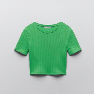 ZARA - ZARA ザラ  クロップド丈リブ編みTシャツ グリーン トップス ショート丈