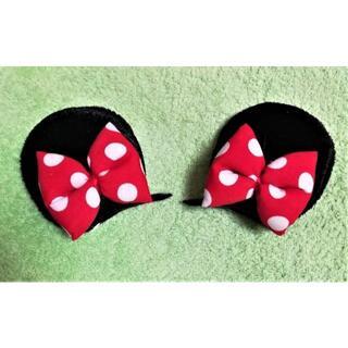 ミニーマウス★リボンヘアピン★赤★レッド★1秒でミニーマウスになれる♪(ヘアピン)