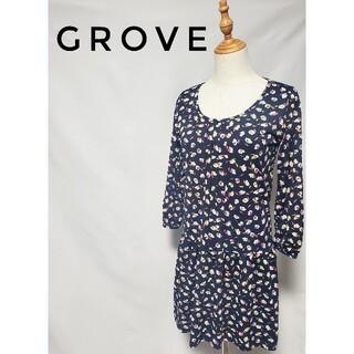 グローブ(grove)のgrove グローブ 花柄 ワンピース♪(ひざ丈ワンピース)