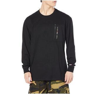 トミーヒルフィガー(TOMMY HILFIGER)のカモフラージュプリントポケットロングTシャツ ブラックXL (Tシャツ/カットソー(七分/長袖))