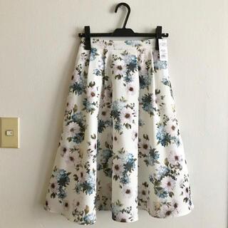 allamanda - 新品未使用タグ付き‼︎ 大花柄ミディスカート ブルー オフホワイト