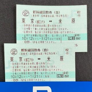 新幹線自由席回数券「米原〜東京」×2枚(旅行用品)