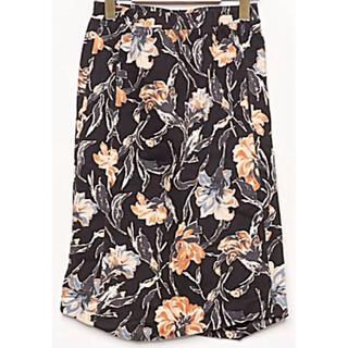 アンティカ(antiqua)のantiqua フラワー 花柄 裾アシンメトリースカート(ひざ丈スカート)