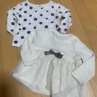 フタフタ(futafuta)の女の子 薄手 ロンT 80 二枚セット リボン ドッド セット 保育園(Tシャツ)