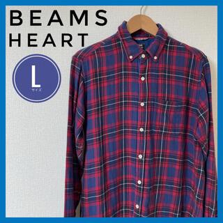 ビームス(BEAMS)のBEAMS シャツ チェック Lサイズ 赤 青 フランネルシャツ(Tシャツ/カットソー(七分/長袖))