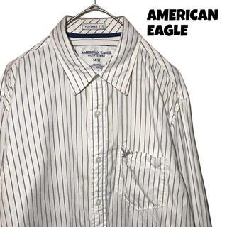 アメリカンイーグル(American Eagle)の【希少デザイン】アメリカンイーグル AE ストライプシャツ M 白 古着 (シャツ)