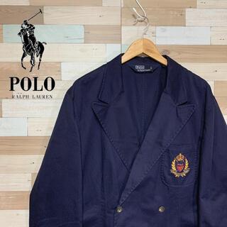 ポロラルフローレン(POLO RALPH LAUREN)の古着 90s ラルフローレン ブレザー ダブルジャケット ネイビー 紺ブレ(テーラードジャケット)