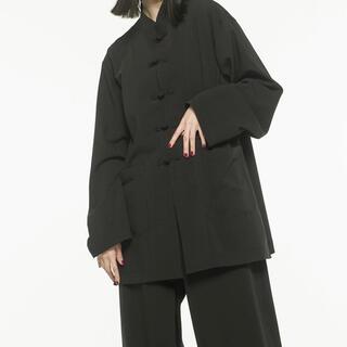 Yohji Yamamoto - s'yteサイトコットンチャイナシャツジャケットチャイナボタンバンドカラー