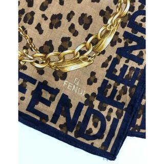 FENDI - FENDI フェンディ ネイビー×アニマル ハンカチ ハンカチスカーフ スカーフ