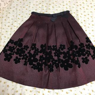 エムズグレイシー(M'S GRACY)のエムズグレイシー  スカート 花 赤 黒 36(ひざ丈スカート)
