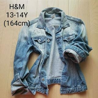 エイチアンドエム(H&M)のH&Mガールズ スタッズ付きデニムジャケット13-14Y/164cm(ジャケット/上着)