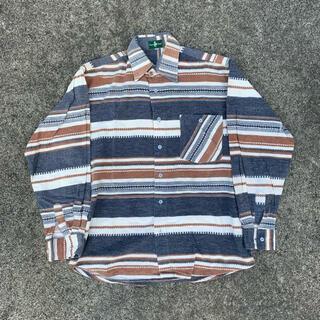 vintage 古着 ネイティブ柄 ボーダーシャツ CPOシャツ(シャツ)