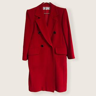 サンローラン(Saint Laurent)の美品 イヴサンローラン ダブルブレスト チェスターコート 赤 ロングコート(チェスターコート)