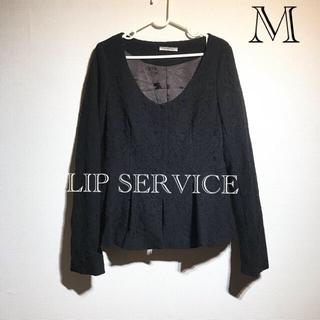 リップサービス(LIP SERVICE)のLIP SERVICE トップス レース ジャケット ドレス ブランド  黒(カットソー(長袖/七分))