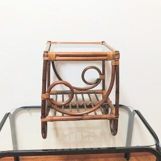 【アンティーク】籐 ラタン製 ガラステーブル