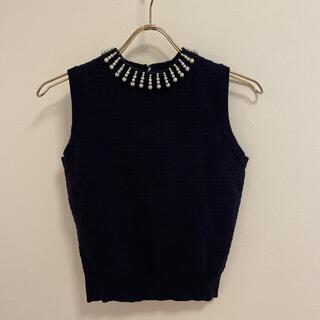 プロポーションボディドレッシング(PROPORTION BODY DRESSING)の10111 ノースリーブ ニット 濃紺 ボディドレッシング(ニット/セーター)