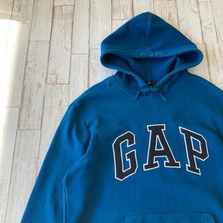 ギャップ(GAP)のGAP スウェットパーカー ギャップ でかロゴ 裏起毛 紺タグ 青 古着(パーカー)