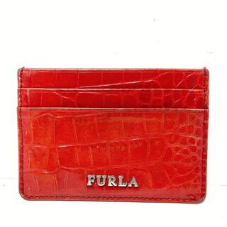 フルラ(Furla)のフルラ カードケース - レッド 型押し加工(名刺入れ/定期入れ)