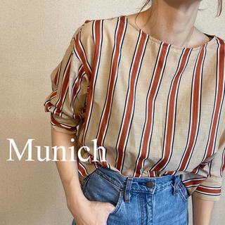 Munich  ストライプシャツ ブラウス 七分袖
