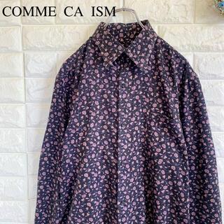 コムサイズム(COMME CA ISM)のCOMME CA ISM 長袖 シャツ 花柄 総柄 ストライプ 黒 L(シャツ)