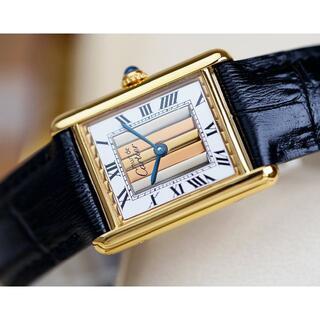 カルティエ(Cartier)の美品 カルティエ マスト タンク スリーカラーゴールド ストライプ LM (腕時計(アナログ))