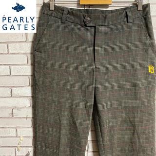 PEARLY GATES - 古着 パーリーゲイツ チェックパンツ スラックス 刺繍ロゴ