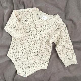 キャラメルベビー&チャイルド(Caramel baby&child )のmonbebe   透かし編みニットロンパース S(ロンパース)