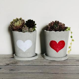 お得な2つセット♪ プランター 植木鉢 Love Heart Twins