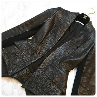 ドゥーズィエムクラス(DEUXIEME CLASSE)の❇️WILLOW❇️お裾の変形デザインが素敵な型押しレザージャケット(ライダースジャケット)