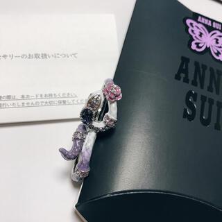 アナスイ(ANNA SUI)のアナスイ ANNA SUI ダブルフィンガーリング ヘビ 白蛇 白へび 薔薇 紫(リング(指輪))
