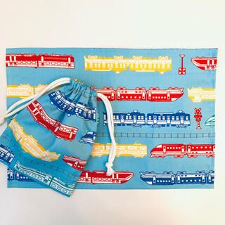 ランチョンマットとコップ袋 新幹線 水色(外出用品)