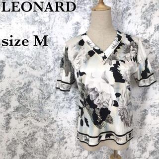 レオナール(LEONARD)のレオナール 花柄 Vネック 半袖 カットソー Tシャツ M相当(カットソー(半袖/袖なし))