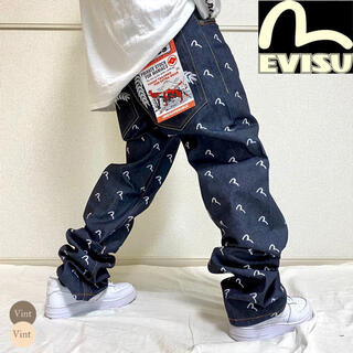 EVISU - エヴィス デッドストック 総柄 刺繍 カモメ デニムパンツ B系 HIPHOP