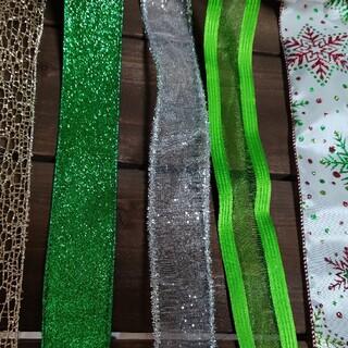 クリスマス リボン 5 種 セット10m クリスマスのリース ディスプレイに(その他)