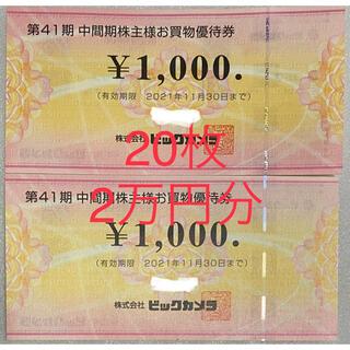 ビックカメラ 株主様 お買物優待券 20枚 20,000円分(ショッピング)