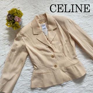 セリーヌ(celine)のセリーヌ テーラードジャケット ボタン刻印 金チェーン フランス製 ベージュ M(テーラードジャケット)