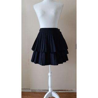 バツ(BA-TSU)のNo.817_BA-TSU_オーバースカート付き黒プリーツミニスカート(ミニスカート)